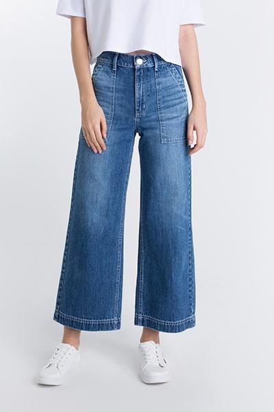 Укороченные широкие джинсы