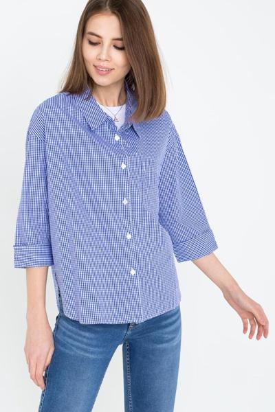 Клетчатая рубашка синяя
