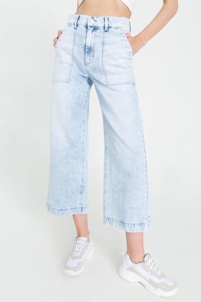 Широкие джинсы укороченные